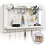 Viefin White Wall Mounted Jewelry Organizer, Wooden Earring Holder with Shelf, Hanging Hooks for Necklace, Removable Rod for