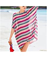 MG Collection Striped Chiffon Fashion Beach Dress Swimsuit Cover-Up w/ Sleeves