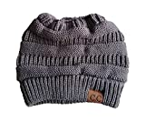 CC Quality Knit Messy Bun Hat Beanie