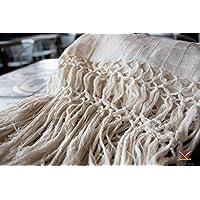 Rebozo deshilado en manta de algodón