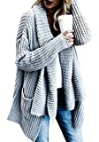 FIRENGOLI Womens Open Front Chunky Sweater Cardigan Long Sleeve Knit Coat with Pocket Grey XL