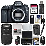 Cheap Canon EOS 6D Mark II Wi-Fi Digital SLR Camera Body with 75-300mm III Lens + 64GB Card + Backpack + Flash + Battery & Charger Kit