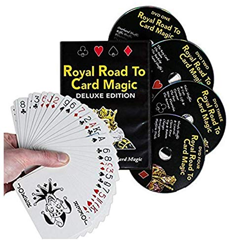 Magic Makers Royal Road to Card Magic Deluxe Magic Training - Complete Set Including a Delands Marked Deck - Over 100 Card Trick Effects from Beginner to Expert Skill Levels