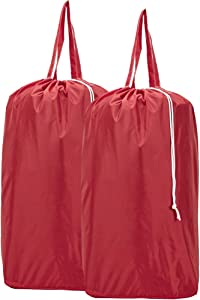 HOMEST 2 Pack Travel Laundry Bag with Handles, Square Base Can Carry Up to 3 Loads of Clothes, Machine Washable Dirty Clothes Storage with Drawstring Closure, Red