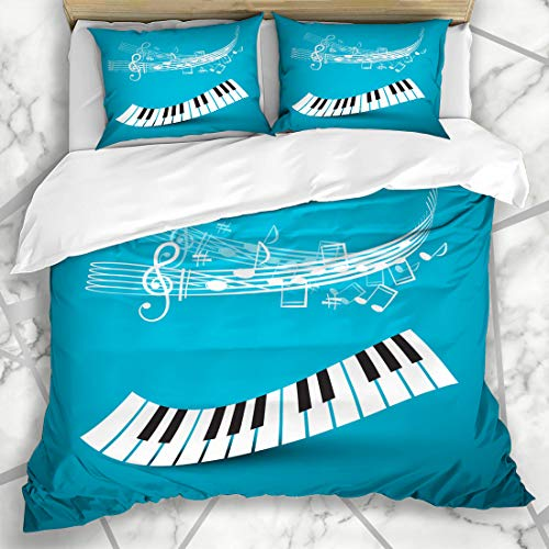 Ahawoso Duvet Cover Sets Queen/Full 90x90 Studio Blue Music Piano Keyboard Abstract Keys Wave Notes Classic Classical Festival Jazz Listen Microfiber Bedding with 2 Pillow - Keyboard Classical Sets