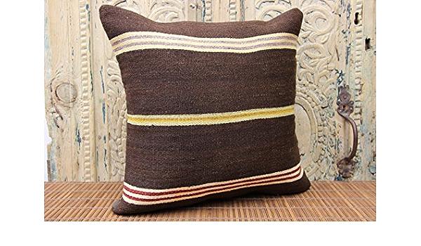 brown striped kilim pillow anatolian kilim pillow 18x18 kilim pillow ethnic pillow sofa pillow handmade kilim pillow throw pillows No 2696