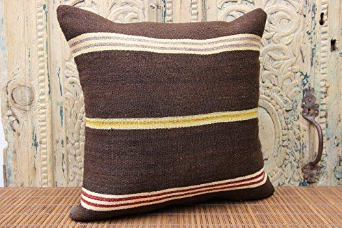 Stripe kilim pillow cover 18x18 inch (45x45 cm) Handmade Kilim pillow cover Home Decor Anatolian Pillow cover Cushion Cover (Anatolian Striped Kilim Rug Cushion)