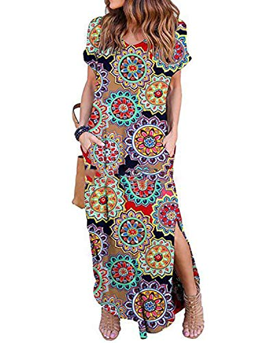 (Kidsform Short Sleeve Maxi Dress for Women Casual Loose Floral Print V Neck Side Slits Summer Cotton Stretchy Party Beachwear Pockets C-Flower Ring Medium)