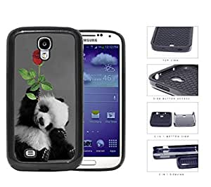 Smiling Baby Panda Bear With Red Rose 2-Piece Dual Layer High Impact Rubber Silicone Cell Phone Case Samsung Galaxy S4 SIV I9500