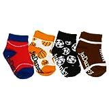 infant football socks - juDanzy baby boy sporty 4-Pack socks in soccer, football, basketball & baseball (0-6 Months)