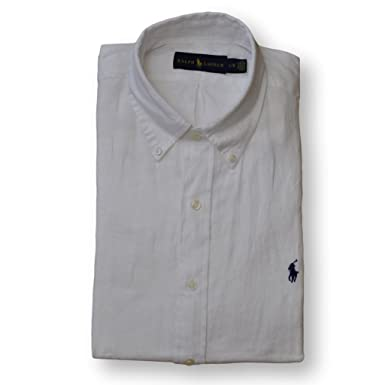 53aece83d899aa Ralph Lauren Polo Herrenhemd Button Down Leinenhemd Leinen Hemd Weiß Größe M