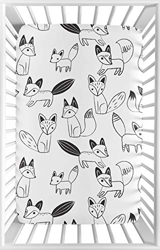 Black Toile Crib - Sweet JoJo Designs Black and White Woodland Baby Boy or Girl Unisex Fitted Mini Portable Crib Sheet for Fox Collection - for Mini Crib or Pack and Play ONLY