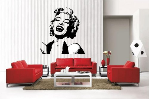 Newclew MARILYN MONROE face removable Vinyl Wall Decal Home Décor Large - Marilyn Monroe Face