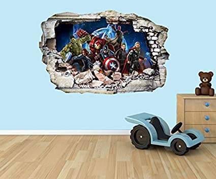 The Avengers Super Heroes 3D effect smashed hole in wall vinyl sticker - suitable for Kids Bedroom walls, doors and glass windows. (Medium 40 x 29 cm) PPS