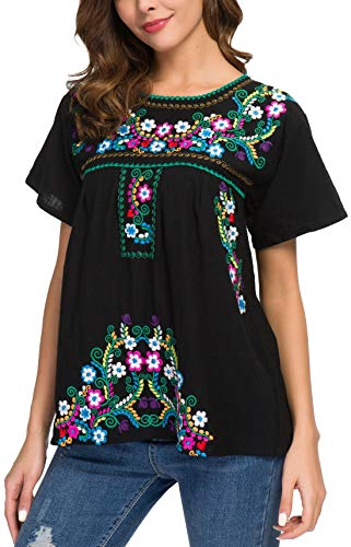YZXDORWJ Women's Embroidered Mexican Peasant Blouse (S, ()