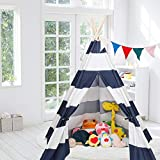 JOYMOR Extra Large Space 5 Poles Teepee Upgraded 6' Foldable Cotton Canvas Indoor Tent Indian Playhouse for Kids Play with Banner,Carry Bag,Window,Pocket (Blue White)