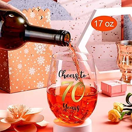 Copa de Vino sin Tallo de Cumpleaños Copa de Vino de Cumpleaños Oro de Regalo para Decoraciones de Cumpleaños Aniversario Boda de Mujeres Hombres, 17 oz sin Tallo (Cheers to 70 Years)