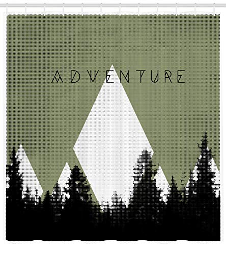 Ambesonne Adventure Shower Curtain, Forest with Halftone Effect Hipster Typography Camping in Mountains, Fabric Bathroom Decor Set with Hooks, 70 Inches, Army Green Black - Hipster Shower Curtain