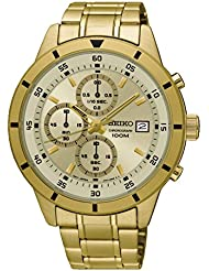 Seiko SKS566 Mens Gold Tone Stainless Steel Gold Dial Date Chronograph Sports Watch