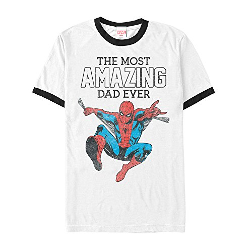 Marvel Men's Spider-Man Amazing Dad White/Black Ringer T-Shirt