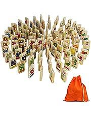 Symiu Domino Legno Bambini Gioco Memory Costruzioni Legno Animali Frutta Verdure Numerati Domino di Legno 100 100 Pezzi per Bambini 3 4 5+