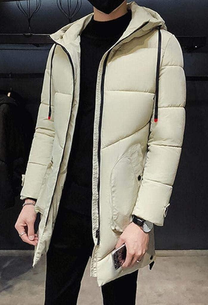 ARTFFEL Mens Winter Slim Thicker Longline Hooded Down Quilted Coat Jacket Overcoat