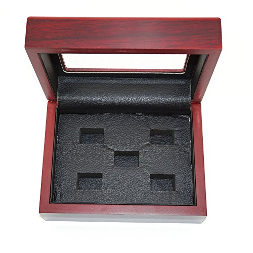 Mehoca Championship Big Heavy Ring Display Wooden Box,Dark-red Ring Holder Display Box for World Series Stanley Cup Championship Ring(5 Holes) ()