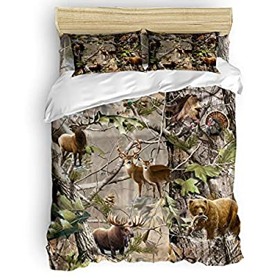 Romance House Duvet Cover Set California King Size, 3 Piece Realtree Camo Rustic Deer Elk Bird Bear Bedding Set - 1 Quilt Cover 2 Pillow Cases for Childrens/Kids/Teens/Adults: Kitchen & Dining