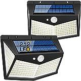 Salandens Luz Solar ,2 Paquetes Luces Solares de Exterior 212 LED / 3 Modos 270 ° Lámpara Solar Exterior IP65 Impermeable Sol