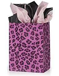 Pink Leopard Handle Lot of 100 Medium Paper Gift Bag Bags 8 X 4.5 X 10.25