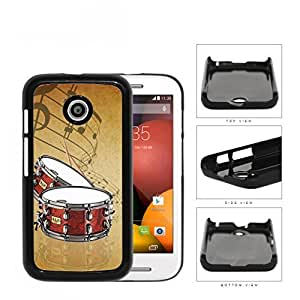 Drums And Musical Notes Brown Grunge Hard Plastic Snap On Cell Phone Case Motorola Moto E