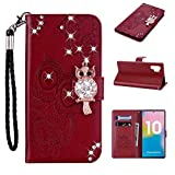 Amocase Wallet Case with 2 in 1 Stylus for Samsung Galaxy Note 10 Plus 5G/Note 10 +,3D Bling Gems Owl Magnetic Mandala Embossing Premium Strap PU Leather Card Slot Stand Case for Samsung Galaxy Note 10 Plus 5G/Note 10 + - Red Brown