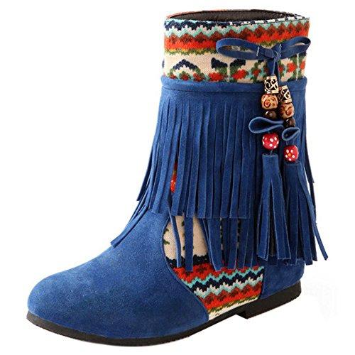 Women Hidden Boots On Pull Blue Heel COOLCEPT dqwxORd
