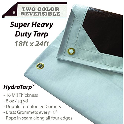 HydraTarp 18 Ft. X 24 Ft. Super Heavy Duty Waterproof Tarp - 16mil Thick - White/Brown Reversible Tarp