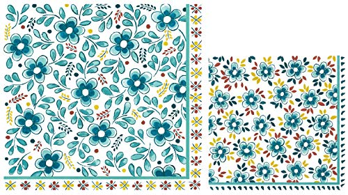 (Le Cadeaux Turquoise Paper Napkins | Disposable Dinner and Cocktail Paper Napkin Set, 20 Count Each | Floral Theme with Shades of Aqua)
