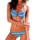 Lavany Women's Halter Bikini Set 2 Pieces Padded Boho Bikini Bottom Bathing Suits