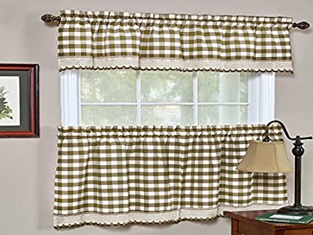 24 Tier Taupe Sweet Home Collection Buffalo Check Gingham Kitchen Window Curtains Valance Set