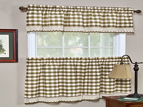 Sweet Home Collection Buffalo Check Gingham Kitchen Window Curtains Valance Set, 36