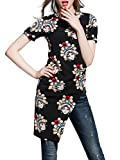 MissLook Women's Black Short Sleeve Tunic Chinese Opera Mask Graphic Side Slit Tunic