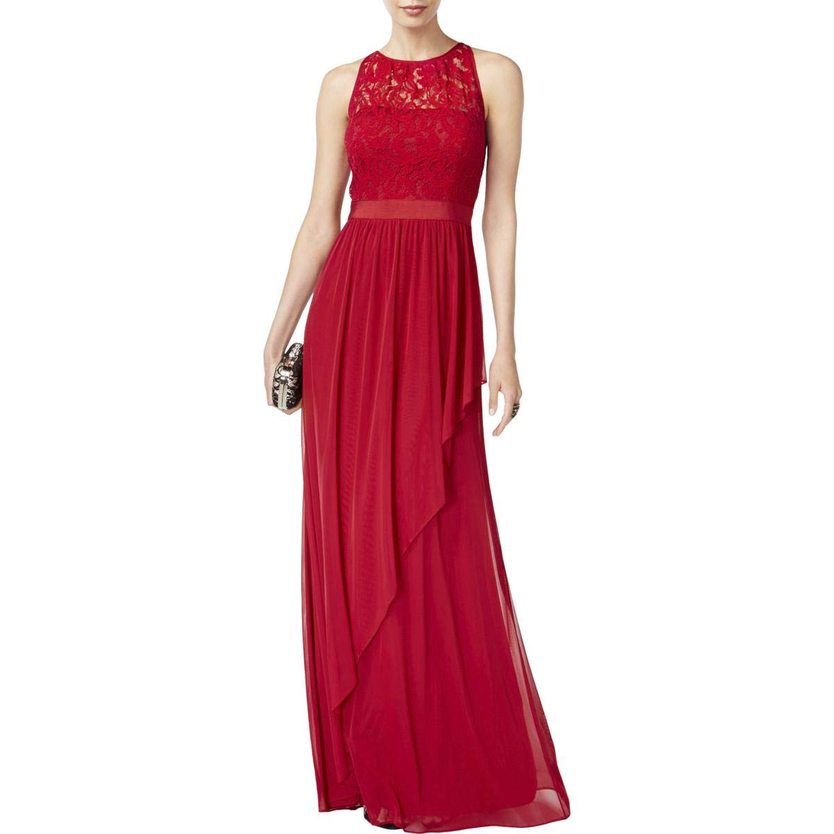 Cherry Adrianna Papell Womens Formal Lace Evening Dress