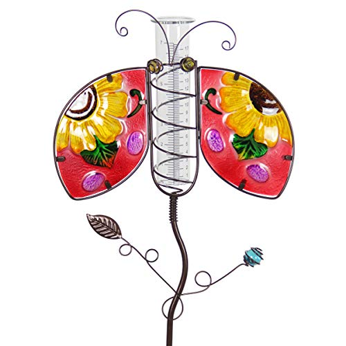 Exhart Red Ladybug Rain Gauge Garden Stake -Ladybug Metal Stake w/Rain Gauge, Made with Fade-Resistant Glass & Metal - Hand-Painted Ladybug Outdoor Decor for Garden, 13 x 35 Inches