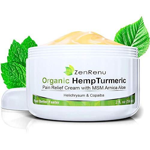Organic Hemp Pain Relief Cream by ZenRenu | MSM Turmeric Arnica, | Relieve Muscle, Joint & Arthritis Pain | Effective Hemp Oil E