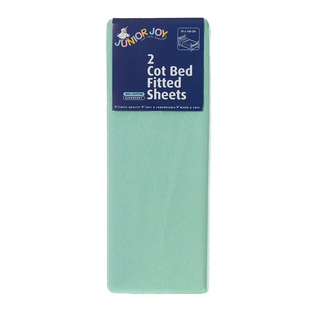 Junior Joy Cot Bed Cotton Fitted Sheet, Mint