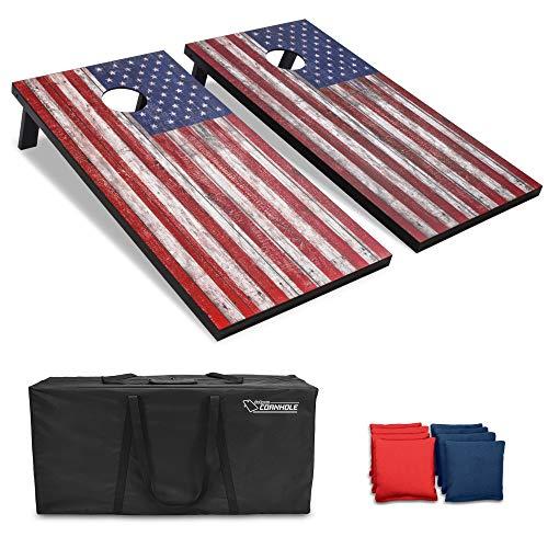 GoSports American Flag Regulation Size Cornhole Set Includes 8 Bags