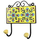 IndianShelf Handmade Yellow Turquoise Flower Tile Clothes Hook/Hanger/Holder-1 Piece(HK-615)
