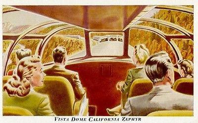 Postcard Dome - Vista Dome California Zephyr Train - Vintage Postcard Poster