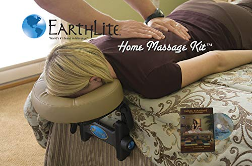 EARTHLITE Home Massage Kit - Deluxe Adjustable Headrest & Face Pillow / Home & Family Massage Made Easy with instructional DVD (Massage Mattress)