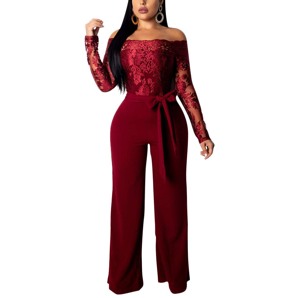 Wine Red Aro Lora Women's Off Shoulder Jumpsuit Floral Embroidery Lace See Through Wide Leg Romper