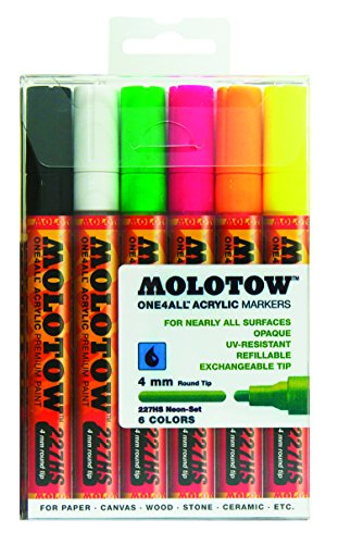 Molotow ONE4ALL Acrylic Paint Marker Set, 6 Neon Colors, 4mm
