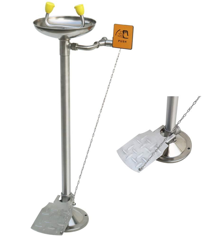 CGOLDENWALL Lavaojos de Emergencia Vertical de Acero Inoxidable Herramienta de Primeros Auxilios Control Doble de Manos y Pies con Flujo de Lavaojos: ≥11.4L/min (con Tabla de Empuje Manual)